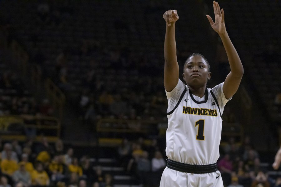 Iowa+guard+Tomi+Taiwo+shoots+a+free+throw+during+a+women%E2%80%99s+basketball+game+between+Iowa+and+Penn+State+at+Carver+Hawkeye+Arena+on+Saturday%2C+Feb.+22%2C+2020.+The+Hawkeyes+defeated+the+Nittany+Lions%2C+100-57.+