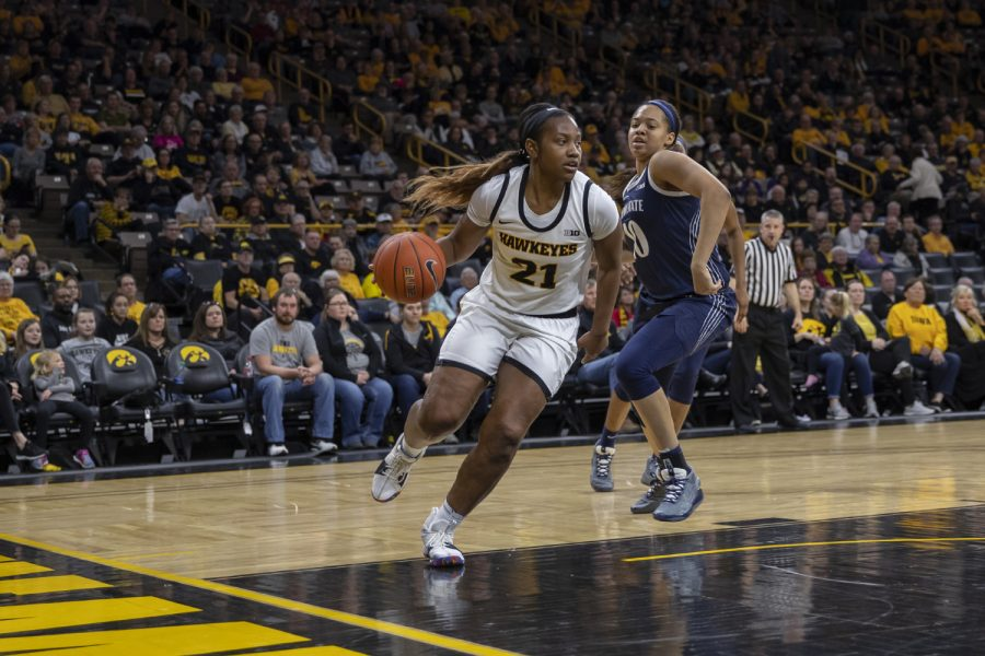 Iowa guard Zion Sanders dribbles the ball during a women's basketball game between Iowa and Penn State at Carver Hawkeye Arena on Saturday, Feb. 22, 2020. The Hawkeyes defeated the Nittany Lions, 100-57.