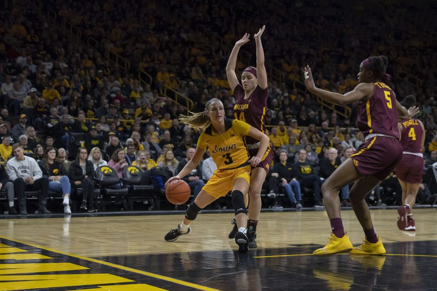 Iowa+guard+Makenzie+Meyer+protects+the+ball+during+a+women%27s+basketball+game+between+Iowa+and+Minnesota+at+Carver+Hawkeye+Arena+on+Thursday%2C+Feb.+27%2C+2020.+The+Hawkeyes+defeated+the+Gophers%2C+90-82.