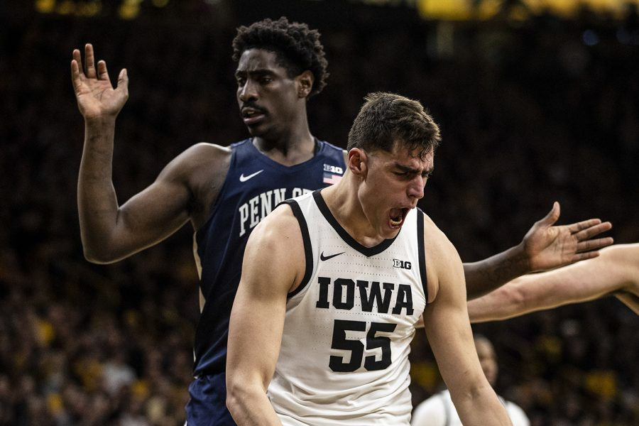 Iowa center Luka Garza celebrates during a men's basketball game between Iowa and Penn State on Saturday, Feb. 29 at Carver-Hawkeye Arena. The Hawkeyes defeated the Nittany Lions 77-68.