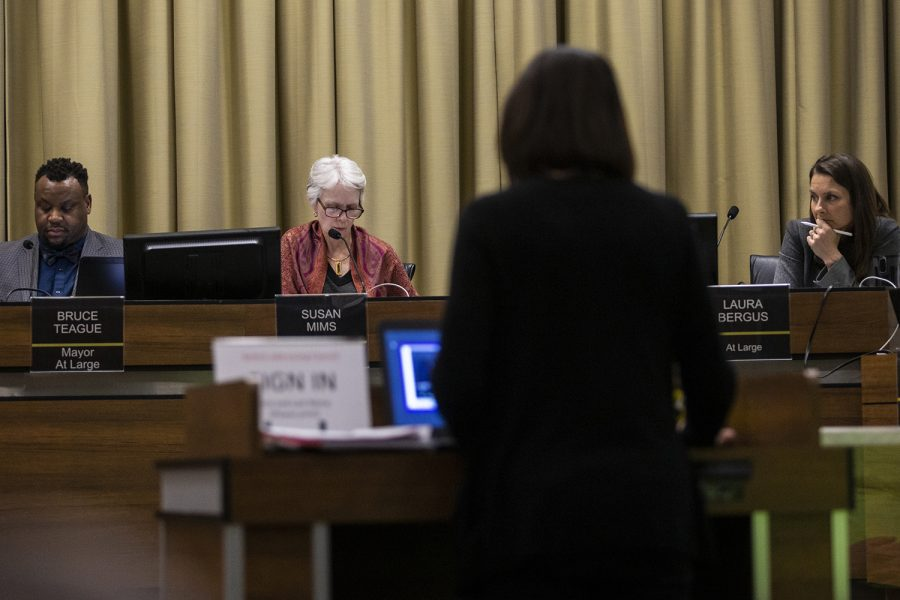 A community member addresses the council about a zoning proposition regarding a proposed animal recreation center at an Iowa City City Council meeting on Tuesday, Feb. 18, 2020.