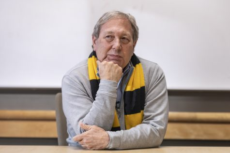 University of Iowa President Bruce Harreld talks with The Daily Iowan during an interview at the Adler Journalism Building on Feb. 13.