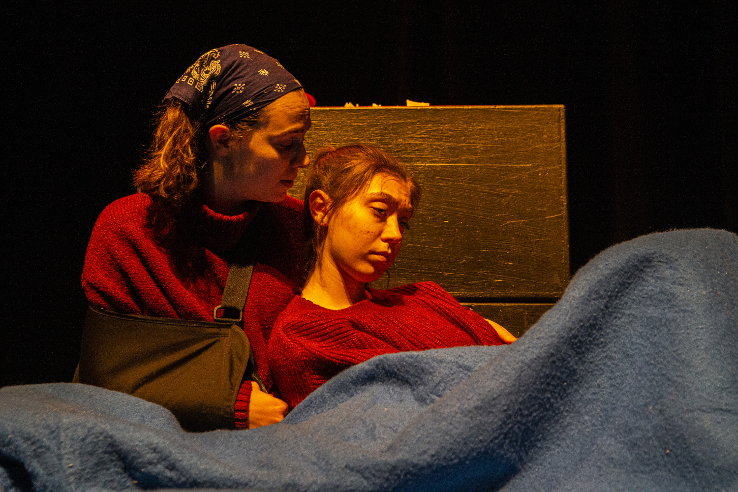 Actors Sophia Kilburg and Cailin Hall perform in Onions as part of the Ten Minute Play Festival in the University of Iowa Theatre Building on Wednesday, February 12th, 2020. The Ten Minute Play Festival showcases the work of seven ten minute long plays written and produced by University of Iowa theatre students.
