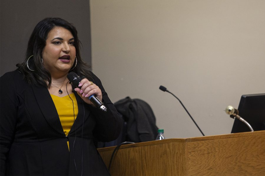 The third of four candidates for Vice President of Student Life, Danielle Martinez, presents during a public forum in the IMU on Monday, Feb. 10, 2020.