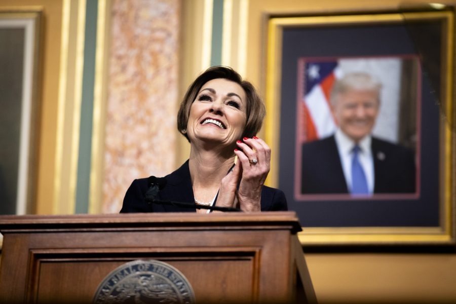 Gov. Kim Reynolds smiles during the Condition of the State address at the Iowa State Capitol on Tuesday, Jan. 14, 2020.
