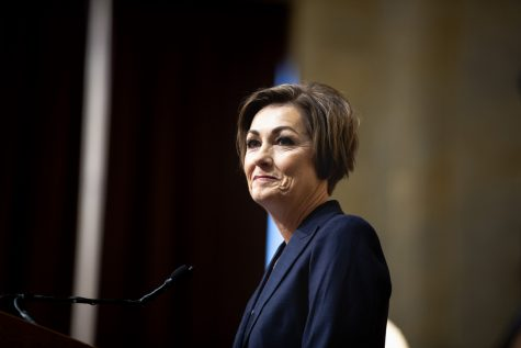 Gov. Kim Reynolds speaks during the Condition of the State address at the Iowa State Capitol on Jan. 14.