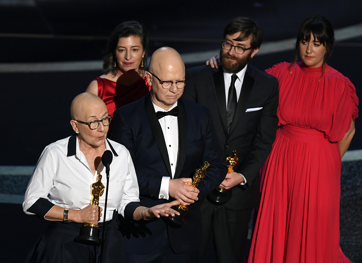 Julia Reichert, left, Lindsay Utz, Steven Bognar, Jeff Reichert and Julie Parker Benello accept the Documentary - Feature - award for 'American Factory' onstage during the 92nd Annual Academy Awards at Dolby Theatre on February 09, 2020 in Hollywood, California.
