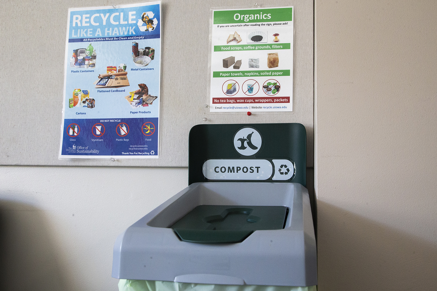 A compost bin is seen in the staff and faculty lounge of the Pappajon Business Building on Tuesday, February 11, 2020. The bins were introduced in January to allow items like paper towels and pizza boxes to be recycled.