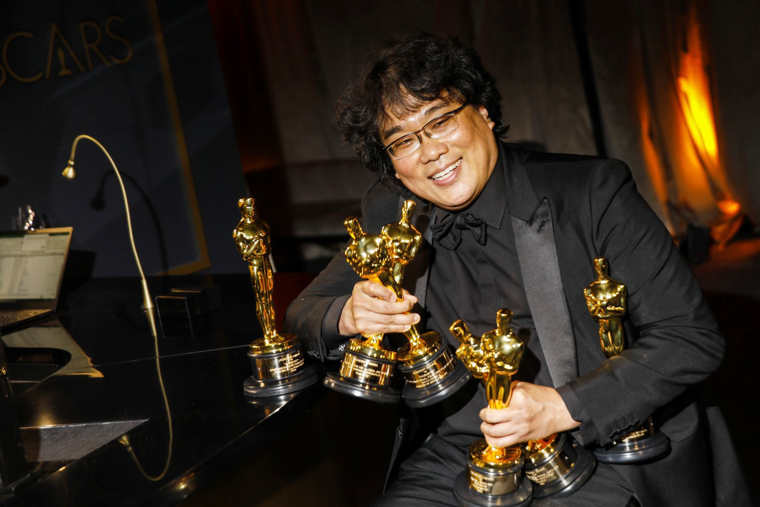 """HOLLYWOOD, CA – February 9, 2020: Bong Joon Ho, winner of the director Oscar and international feature Oscar for """"Parasite"""" at the Academy Awards Governors Ball on Sunday, February 9, 2020 at the Dolby Theatre at Hollywood & Highland Center in Hollywood, CA."""