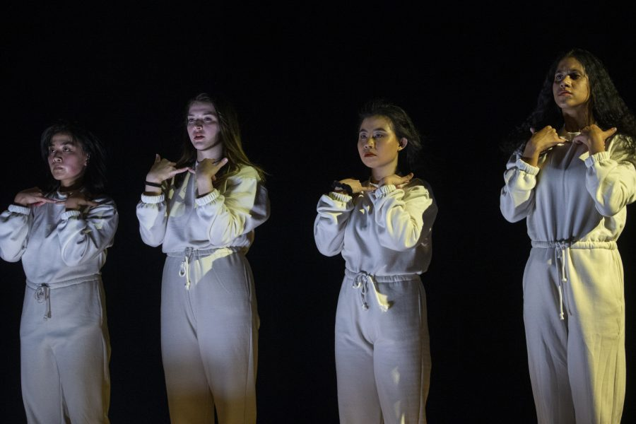 Mariko Ishikawa(left), Brooke Lilienthal(left center), Ianka Hou(right center), and Dharmini Piekarska(right) perform a piece during a dress rehearsal of the Dancers in Company 2020 Home Concert on Monday, Feb. 24, 2020 at the Space Place Theater in North Hall.