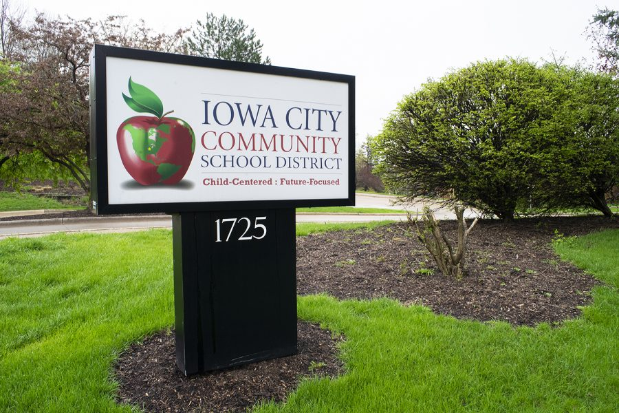 The+Iowa+City+Community+School+District+sign+is+seen+on+April+29%2C+2019.