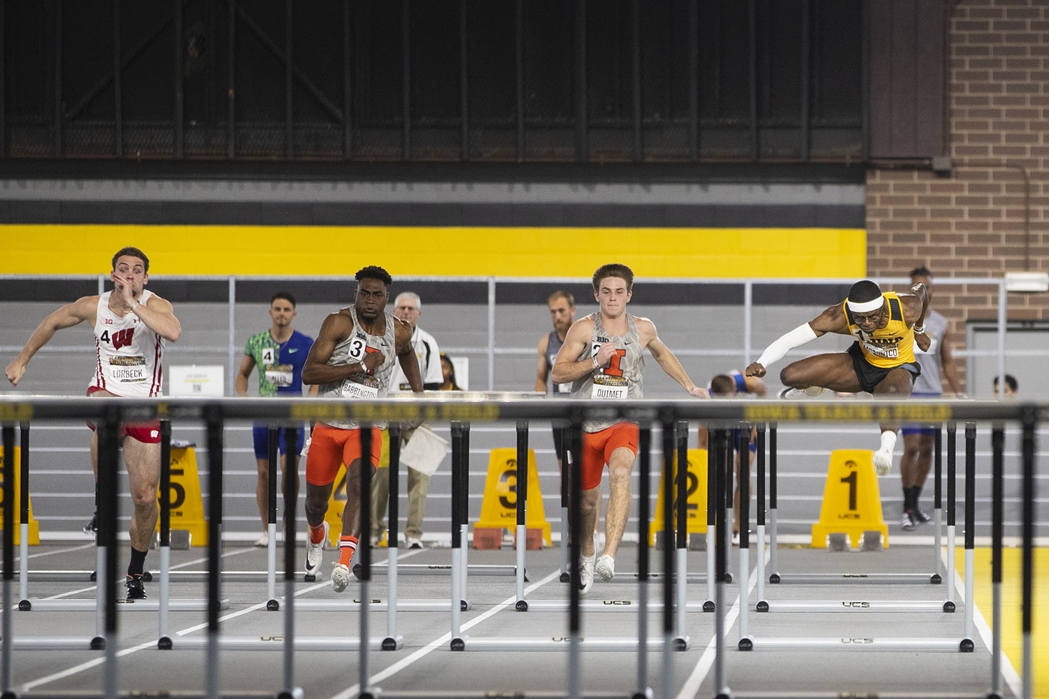 Iowa hurdler Jaylan McConico competes in the 60m hurdle premier during the fourth annual Larry Wieczorek Invitational at the University of Iowa Recreation Building on Saturday, Jan 18, 2020.