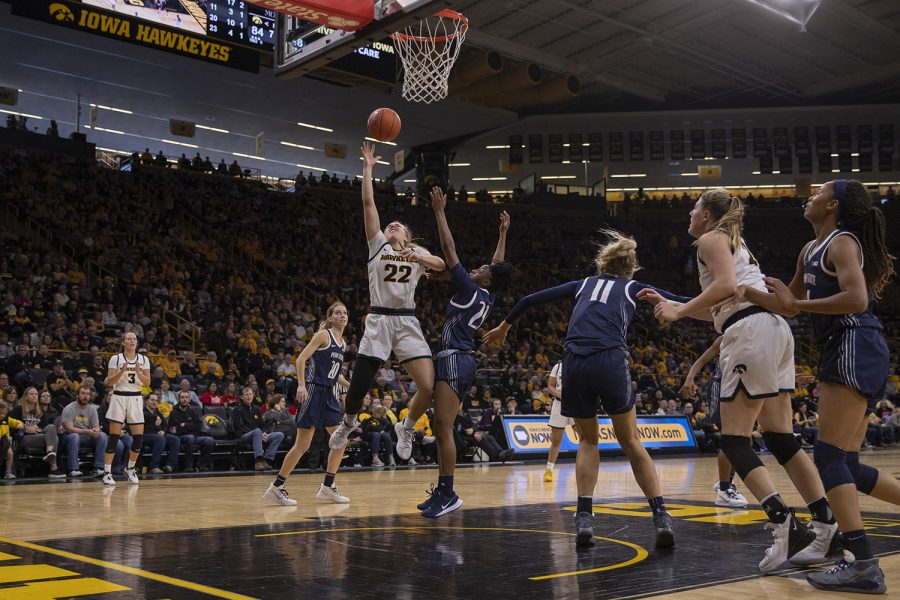 Iowa guard Kathleen Doyle shoots a basket during a women's basketball game between Iowa and Penn State at Carver Hawkeye Arena on Saturday, Feb. 22, 2020. The Hawkeyes defeated the Nittany Lions, 100-57.
