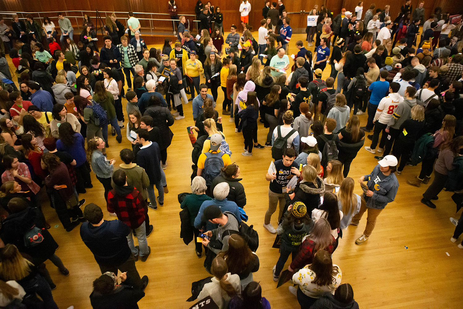 University of Iowa students form lines during the caucus at the Iowa Memorial Union on Monday February 3, 2020. (Megan Nagorzanski/The Daily Iowan)
