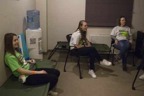 Accommodations volunteers sit in the accommodations room during Dance Marathon on Friday, February 7, 2020. The volunteers remain in case students need medical or physical help during the marathon.