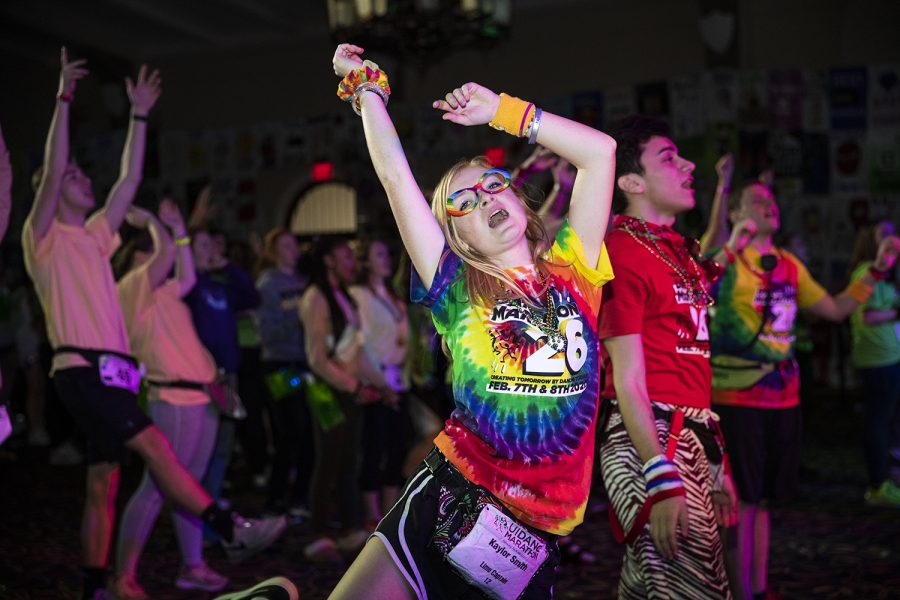 Morale+captains+dance+and+cheer+during+Dance+Marathon+26+at+the+IMU+on+Saturday%2C+February+8%2C+2020.+