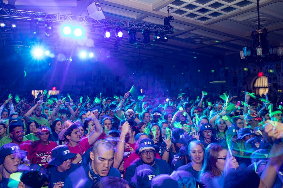 Dancers+wave+glowsticks+during+the+23rd+hour+of+the+University+of+Iowa+Dance+Marathon+Big+Event+on+Saturday%2C+Feb.+8%2C+2020+in+the+IMU+Main+Lounge.+