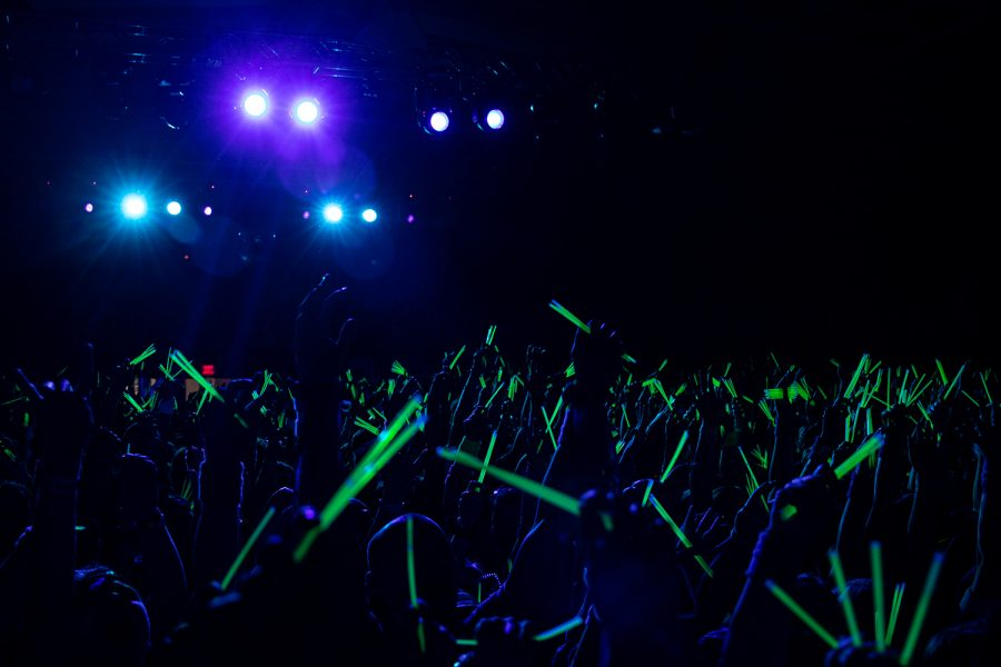 Dancers wave glowsticks during the 23rd hour of the University of Iowa Dance Marathon Big Event on Saturday, Feb. 8, 2020 in the IMU Main Lounge.