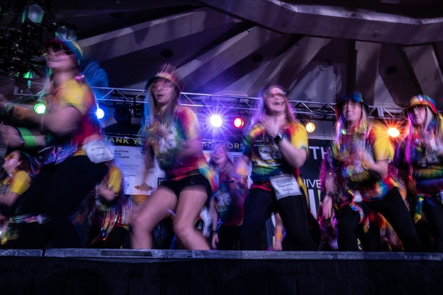 Morale Captains perform their routine during Dance Marathon 26 on Friday, Feb. 7, 2020. Morale Captains perform the routine once an hour during Dance Marathon events.