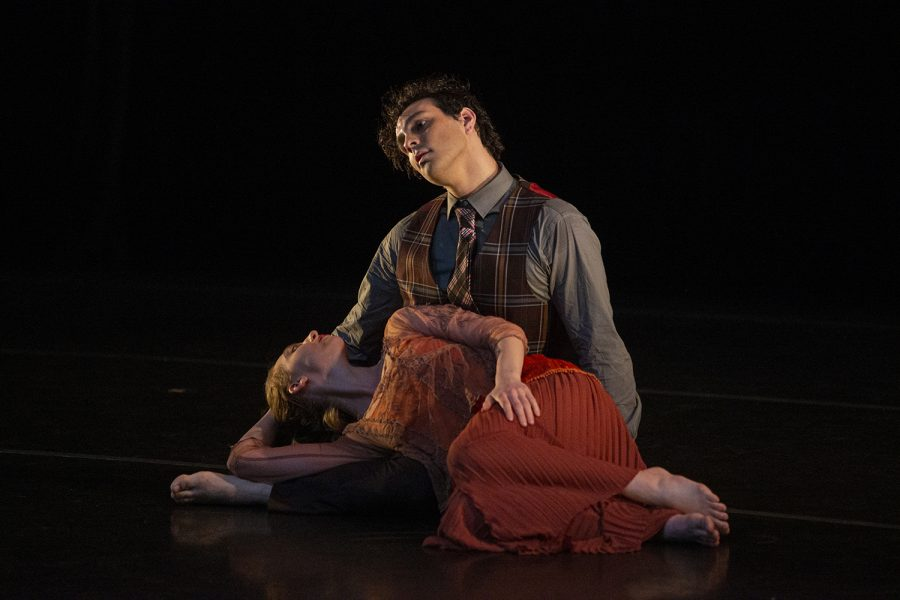 Michael+Landez+and+Juliet+Remmers+perform+a+piece+during+a+dress+rehearsal+of+the+Dancers+in+Company+2020+Home+Concert+on+Monday%2C+Feb.+24%2C+2020+at+the+Space+Place+Theater+in+North+Hall.