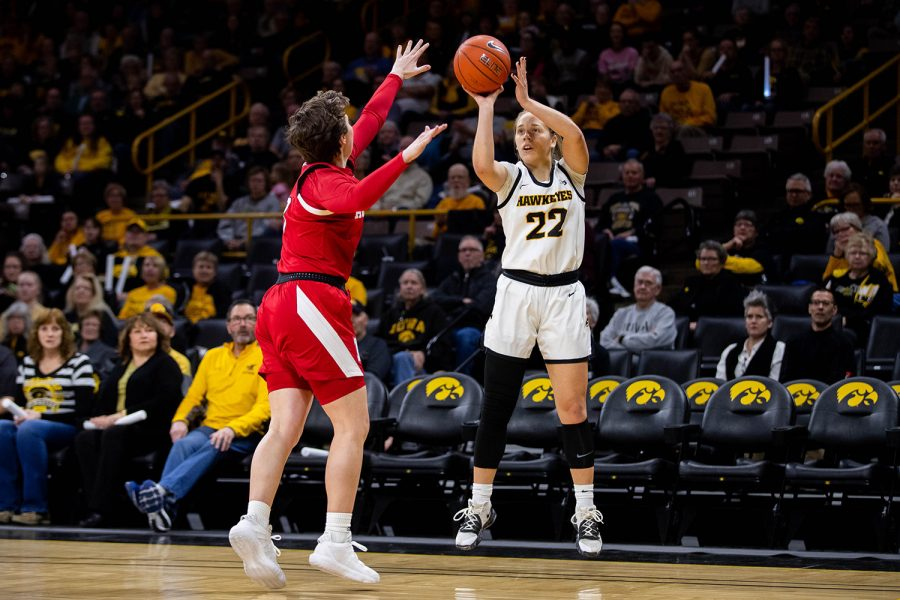 Iowa guard Kathleen Doyle shoots during a women's basketball game between Iowa and Nebraska at Carver Hawkeye Arena on Monday Feb. 6, 2020. The Hawkeyes defeated the Cornhuskers 76-60.