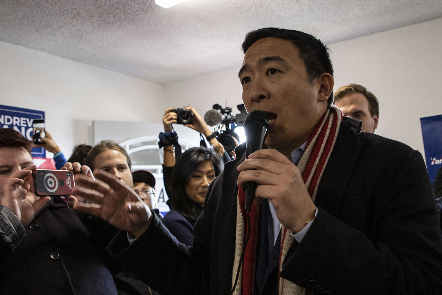 Democratic candidate Andrew Yang addresses fans during a meet and greet in his Iowa City campaign office on Feb. 3. Yang greeted fans and cheered them on for the caucuses later tonight.