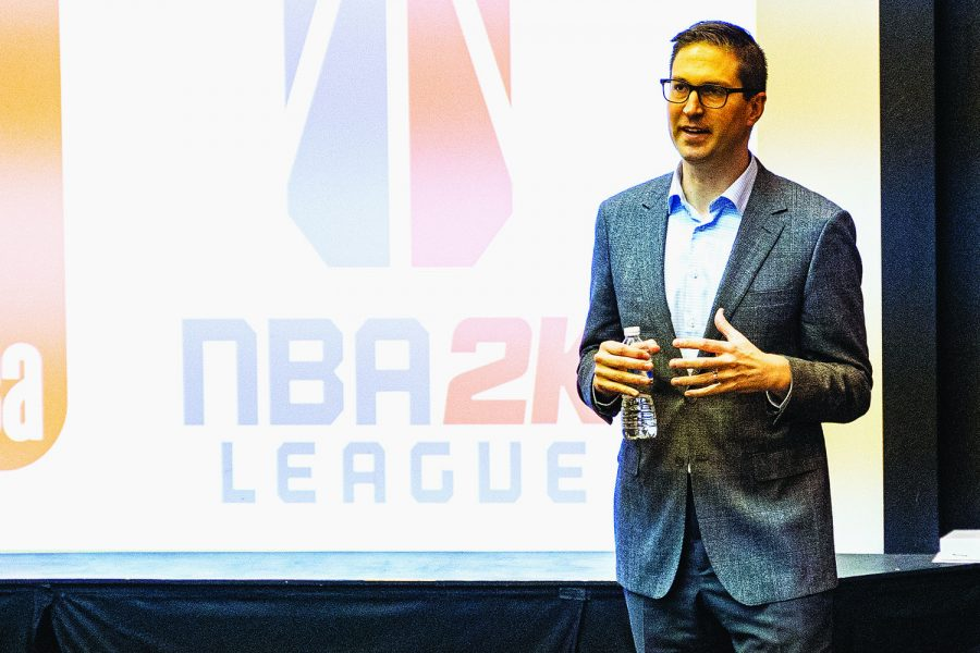 NBA+Associate+VP+for+Basketball+Operations+Garth+Glissman+speaks+in+116+IMU+on+Monday%2C+Feb.+17%2C+2020.+Glissman+spoke+about+the+league%27s+business+operations+to+a+room+of+Sports+Management+students.+