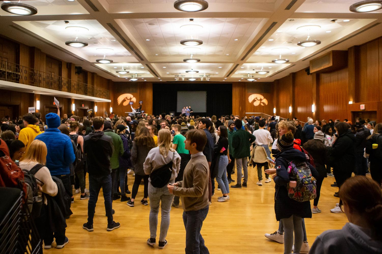 University of Iowa students caucus at the Iowa Memorial Union on Monday February 3, 2020.