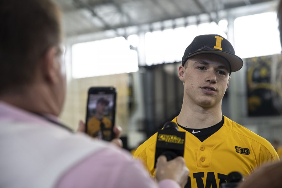 Iowa+pitcher+Jack+Dreyer+speaks+to+members+of+the+press+during+baseball+media+day+in+the+UI+recreation+building+on+Thursday%2C+Feb.+6%2C+2020.+%28Katie+Goodale%2FThe+Daily+Iowan%29