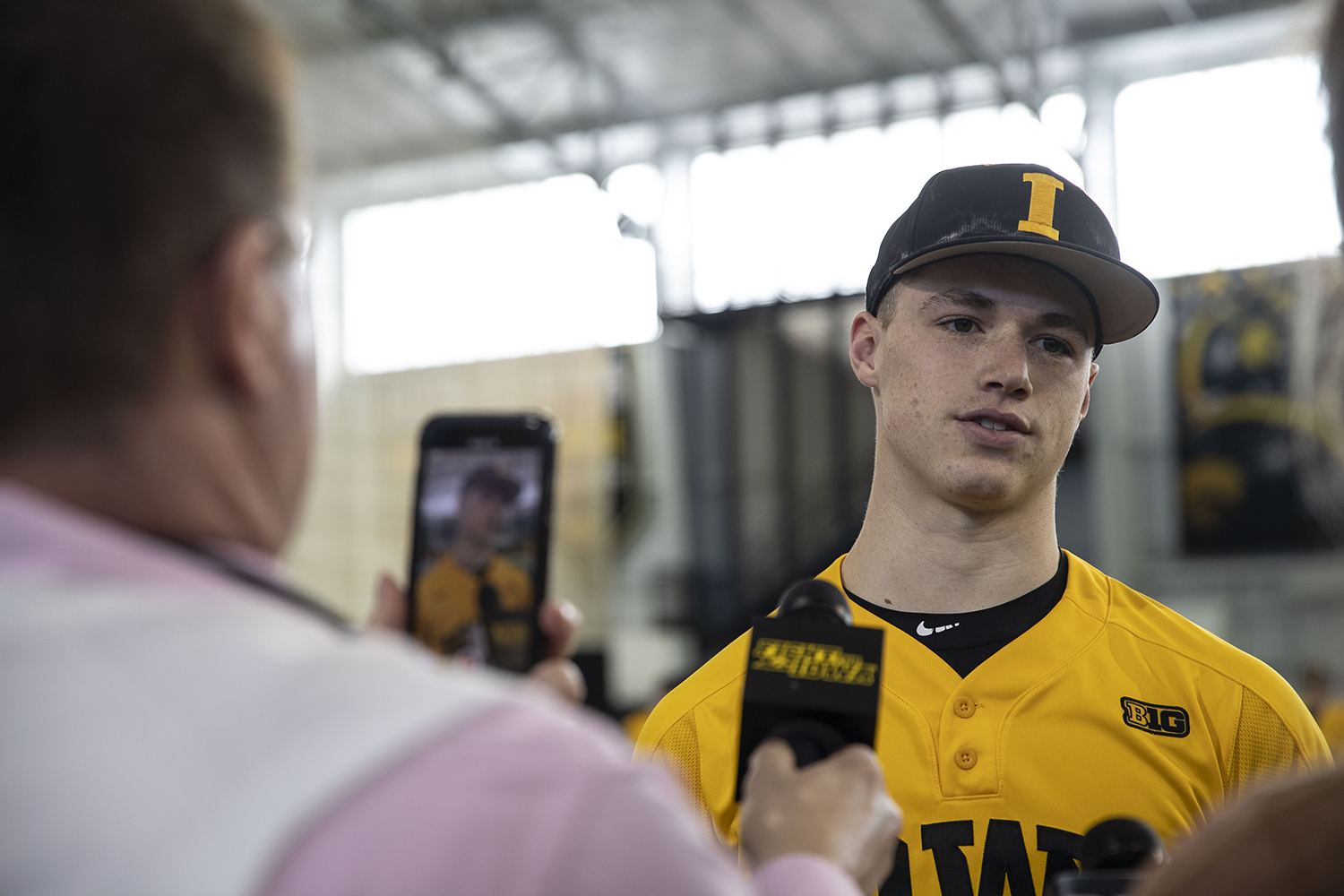 Iowa pitcher Jack Dreyer speaks to members of the press during baseball media day in the UI recreation building on Thursday, Feb. 6, 2020. (Katie Goodale/The Daily Iowan)