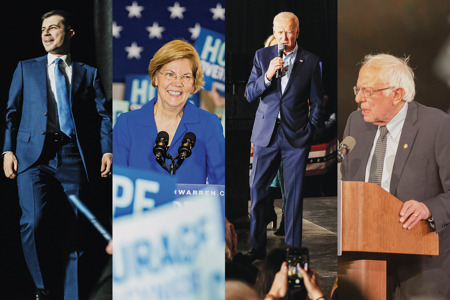 In this diptych, ormer Mayor of South Bend, Indiana, Pete Buttigieg, Sen. Elizabeth Warren, D-Mass., former Vice President Joe Biden, and Sen. Bernie Sanders, I-Vt., address supporters at their watch parties in Des Moines after the caucuses on Tuesday.