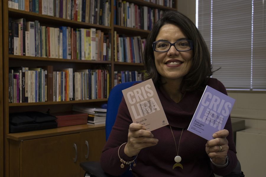 UI instructor Cristiane Barbosa de Lira poses for a portrait on Feb. 19, 2020. Barbosa de Lira recently got a book of poetry published in Brazil and is the only Portuguese professor at the university.
