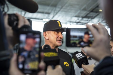Head Coach Rick Heller speaks to members of the press during baseball media day in the UI recreation building on Thursday, Feb. 6, 2020.