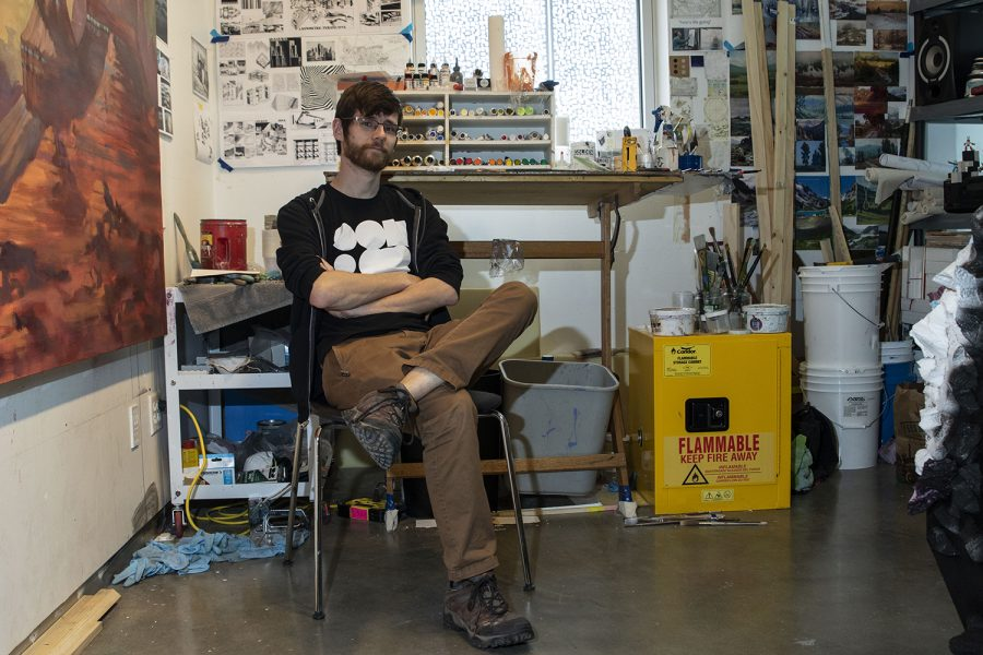 Graduate Student Drew Etienne poses in his studio in the Visual Arts Building on Tuesday, Feb. 25, 2020.