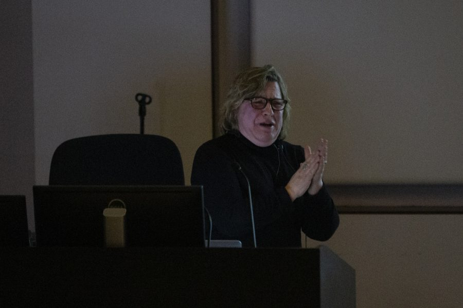 "Suzanne Wright gives a lecture on her project ""Goddess Eye View"" on Feb. 20 at Art Building West."