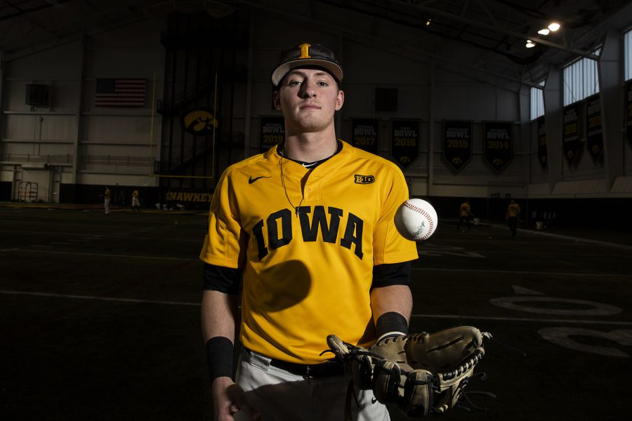 Iowa infielder Brendan Sher poses for a portrait during baseball media day in the UI recreation building on Thursday, Feb. 6, 2020.