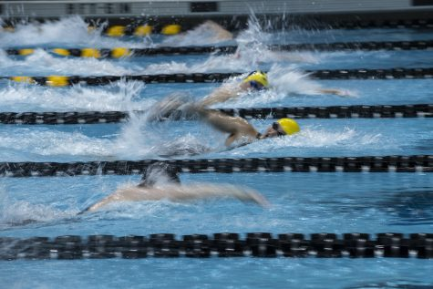 Swimmers compete in the 100 yard freestyle during the last session of the 2020 Women's Big Ten Swim and Dive Championship on Saturday, Feb. 22, 2020 at the Campus Recreation and Wellness Center. Ohio State won the championships with an overall score of 1503.5.