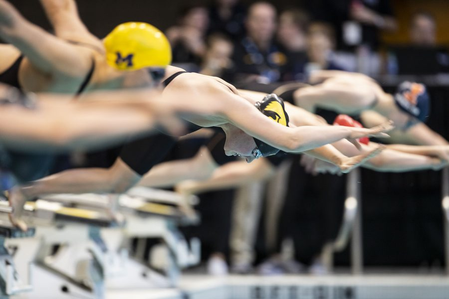 Iowa%E2%80%99s+Hannah+Burvill+dives+in+at+the+start+of+the+100+yard+freestyle+preliminaries+during+the+sixth+session+of+the+2020+Big+Ten+Women%E2%80%99s+Swimming+and+Diving+Championships+at+the+Campus+Recreation+and+Wellness+Center+on+Saturday%2C+Feb.+22%2C+2020.+Burvill%E2%80%99s+time+of+48.65+put+her+in+ninth+place+in+the+preliminaries.+