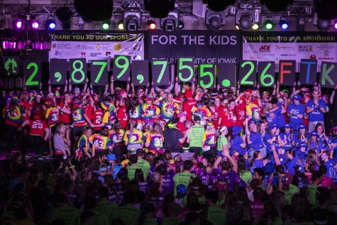 The final total is shown during  Dance Marathon 26 in the IMU on Feb. 8.