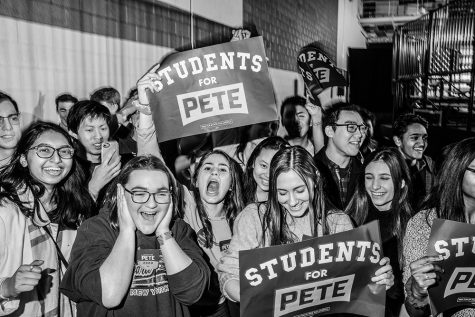 Students for Pete cheer during a caucus watch for former South Bend, Indiana Mayor Pete Buttigieg party at the Bell Center in Des Moines on Monday, February 3, 2020. At the time of the watch party, no precincts had finalized results. Buttigieg gave a hopeful speech and claimed victory in Iowa. At the time of the watch party no precincts had reported official results.