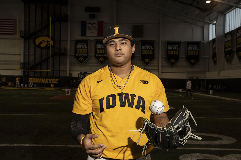 Iowa infielder Izaya Fullard poses for a portrait during baseball media day in the UI recreation building on Thursday, Feb. 6, 2020. (Katie Goodale/The Daily Iowan)