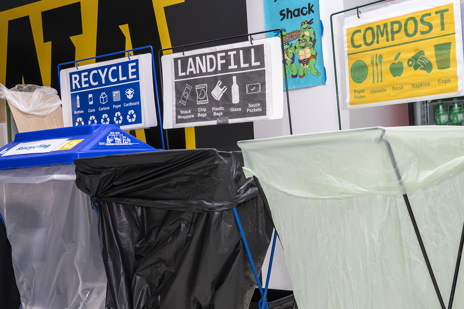 Composite, Landfill, and Recycling bins were placed outside the Food Court inside the IMU during The Dance Marathon. The event took place in the IMU from Friday, February 7 to Saturday, February 8 of 2020.