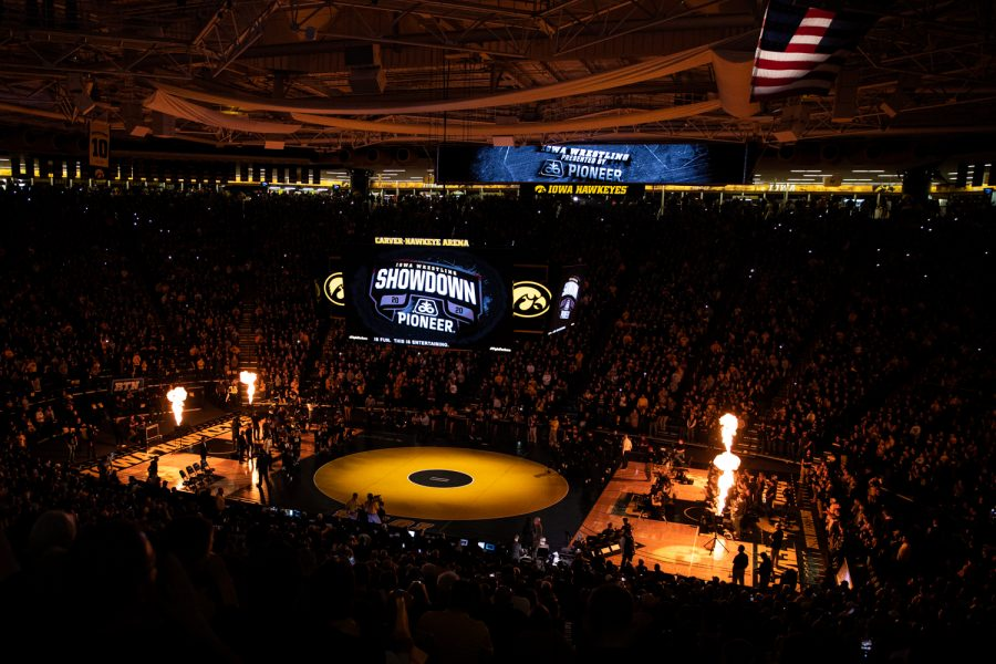 Carver-Hawkeye Arena is seen before a wrestling dual meet between No. 1 Iowa and No. 2 Penn State at Carver-Hawkeye Arena on Friday, Jan. 31, 2020. The Hawkeyes defeated the Nittany Lions, 19-17.