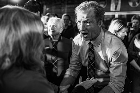 Tom Steyer meets with supporters during a campaign rally at Backpocket Brewery in Coralville on Sunday, Feb. 2, 2020. The Iowa Caucuses will be held on Feb. 3.