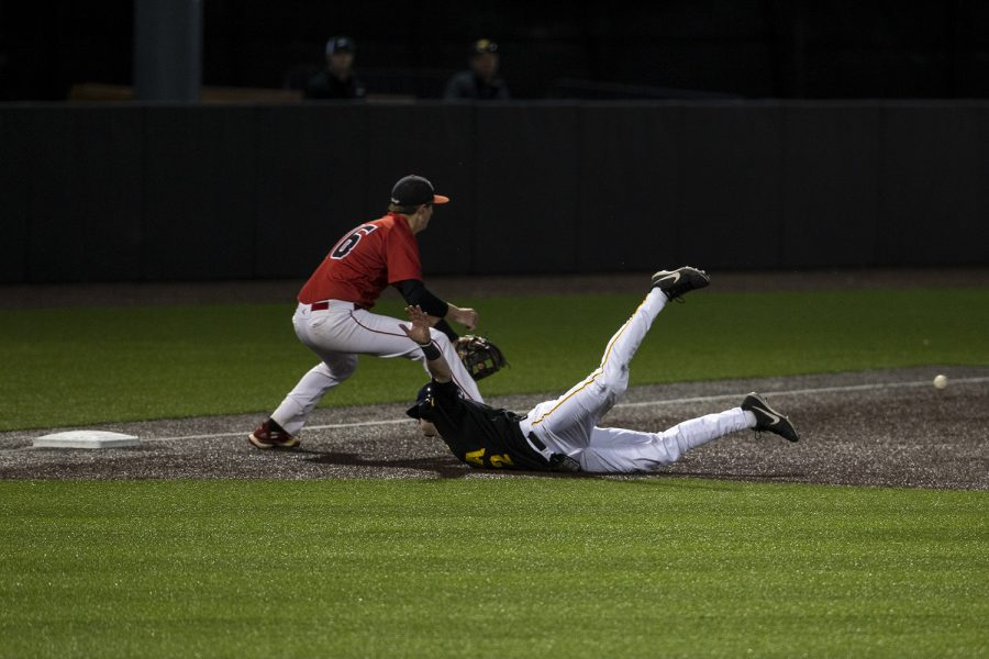 Iowa infielder Brendan Sher slides into third during a baseball game between Iowa and Grand View at Duane Banks Field on March 3, 2020. The Hawkeyes defeated the Vikings 15-2.