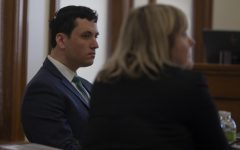 Former Iowa Hillel Director David Weltman listens during the third and final day of trial on Thursday, March 5, 2020, at the Johnson County Courthouse. Weltman was found guilty of second-degree sexual abuse, a Class-B felony.