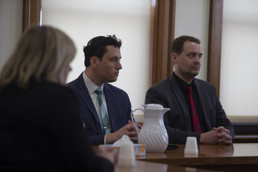 Former Hillel director David Weltman and his attorney Christopher Foster listen to the state's closing argument during the third and final day of trial on Thursday, 5, 2020, at the Johnson County Courthouse. Weltman was convicted of second-degree sexual abuse, a Class B felony. (Emily Wangen/The Daily Iowan)