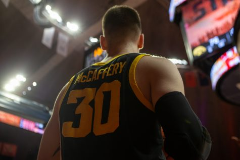 Iowa guard Connor McCaffery holds the ball on the sidelines o the court in the final 1.6 seconds of a game on Sunday, March 8, 2020 at the State Farm Center in Champaign, Ill. The Hawkeyes lost to the Fighting Illini, 76-78.