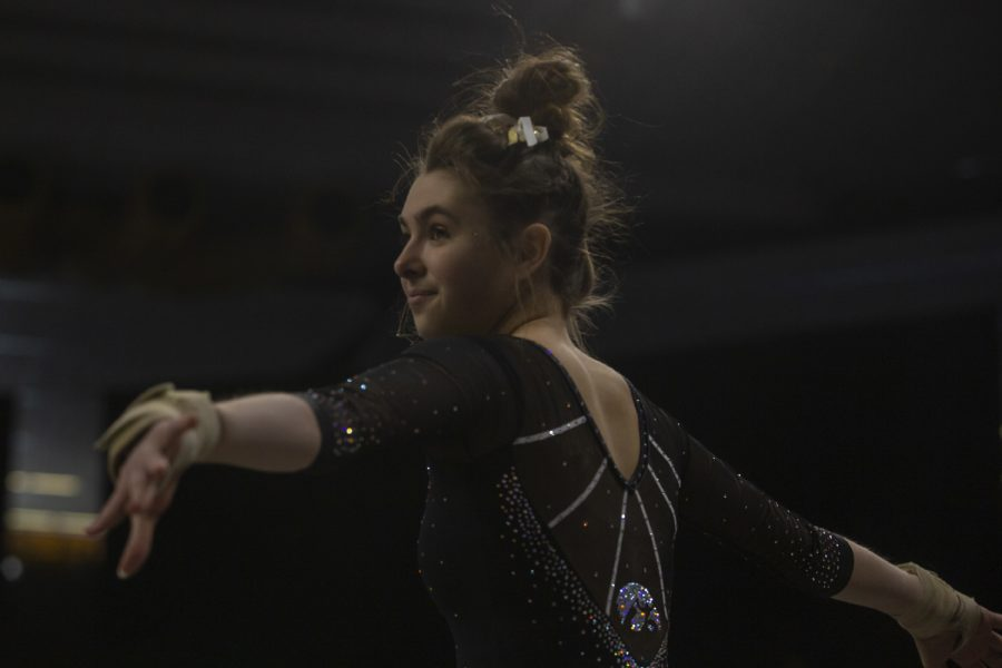 Iowa%E2%80%99s+all-around+Bridget+Killian+begins+her+floor+routine+during+a+women%E2%80%99s+gymnastics+meet+between+Iowa+and+West+Virginia+on+Sunday%2C+March+8%2C+2020+at+The+Carver+Hawkeye+Arena.+The+Hawkeyes+defeated+the+Mountaineers+196.750-196.175.+Killian+earned+a+score+of+9.900.+