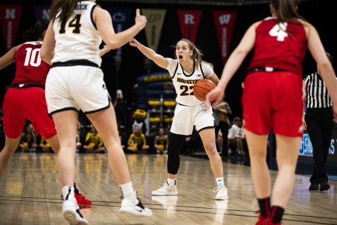 Iowa guard Kathleen Doyle shouts out a play directions during the Iowa vs. Ohio State Women's Big Ten Tournament game at Bankers Life Fieldhouse in Indianapolis on Friday, March 6, 2020. The Buckeyes defeated the Hawkeyes 87-66.